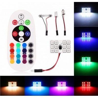 Set 2 Placute LED 12 SMD RGB cu Telecomanda