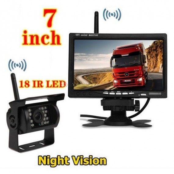 Kit marsarier wireless cu camera si display de 7 inch 12V~24V, K611W pentru Camioane, Autocare, Bus-uri
