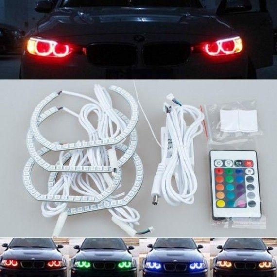 Kit Angel Eyes LED SMD RGB pentru BMW F30, F36 (BMW Seria 3 2011+, Seria 4 2013+ ) cu 16 culori cu telecomanda