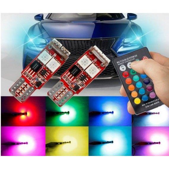 Set 2 Led-uri Pozitie, RGB / 6 SMD Multicolor cu telecomanda