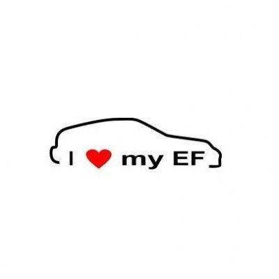 Stickere auto I love my Honda EF  (v1)