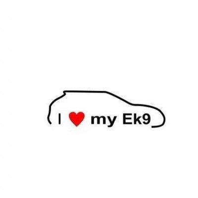 Stickere auto I love my Honda EK9