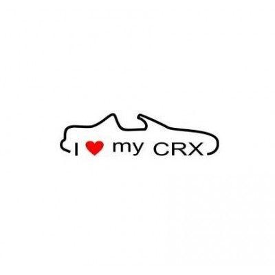 Stickere auto I love my Honda CRX  (v2)