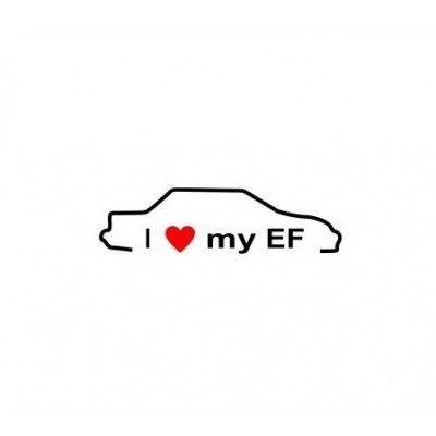 Stickere auto I love my Honda EF  (v2)
