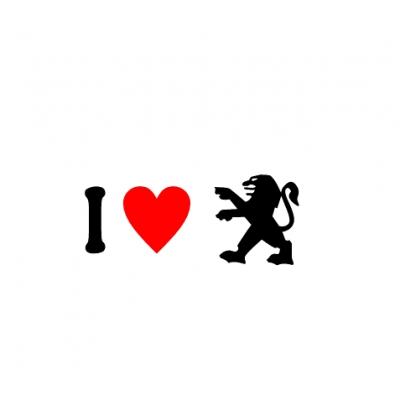 Sticker I Love Peugeot Sigla