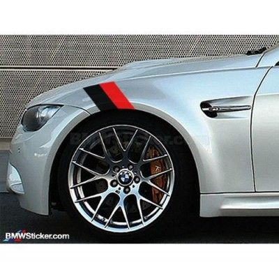 Sticker ornament auto BMW Flag - Black/Red