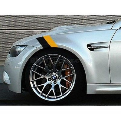 Sticker ornament auto BMW Flag - Black/Yellow