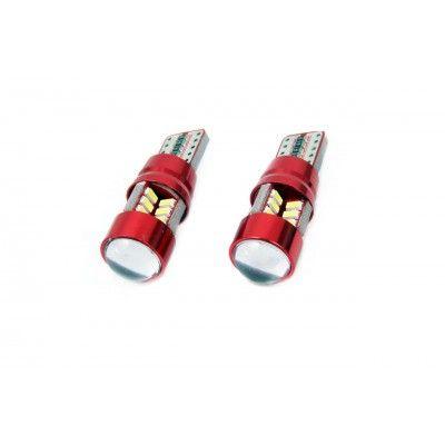 Set 2 becuri LED T10 Canbus 27SMD cu lupa